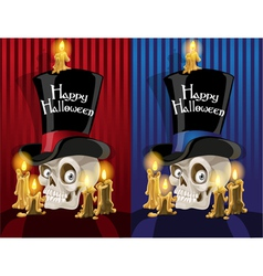 Terrible banner with a skull in the cylinder Happy vector image vector image