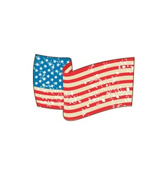 Usa flag stars and stripes grunge wavy retro vector