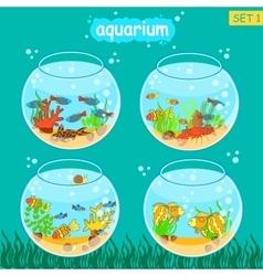 Aquarium set with fish and decoration Fishbowl vector image