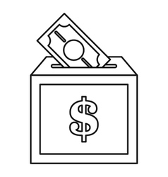 Donation box icon outline style vector
