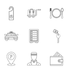 Hostel accommodation icons set outline style vector