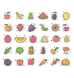 Simple icons of vegetables and fruit vector