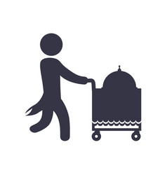 waiter pushing food cart vector image