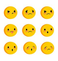 emotional cute sad triste faces smiles set vector image