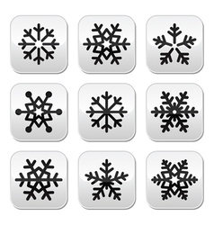 Snowflake winter buttons set vector