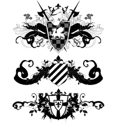 set of ornamental heraldic shields vector image