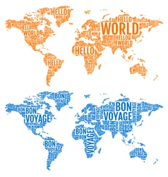 Typographic world maps vector