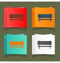 Set of vintage benches for parks and streets vector