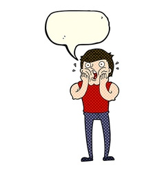 Cartoon gasping man with speech bubble vector