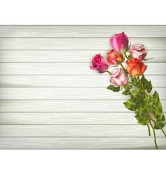 Roses on a wooden background EPS 10 vector image