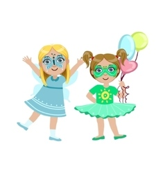 Two girls with painted faces vector