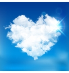 Realistic cloud heart with sun vector