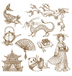 asian elements hand drawn set vector image vector image