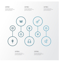 audio outline icons set collection of timbrel vector image
