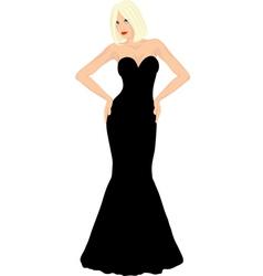 Blonde woman in black dress vector