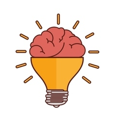 Brain bulb light vector