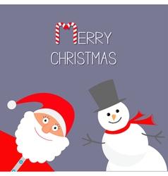 Cartoon Snowman and Santa Claus Violet background vector image vector image