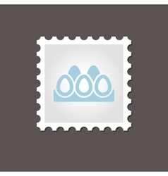 Chicken eggs tray stamp outline vector