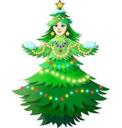 christmas tree girl vector image vector image