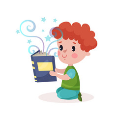 cute little redhead boy reading fairytale book vector image vector image
