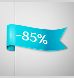 Cyan ribbon with text eighty five percent discount vector