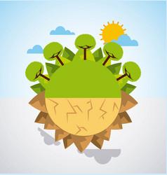 earth divided green landscape and desert scene vector image