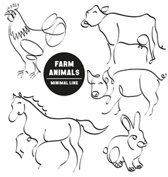 Farm animals minimal hand drawn set of pictures vector