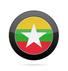 Flag of myanmar shiny black round button vector