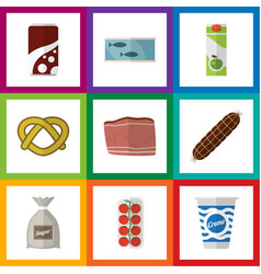 flat icon food set of tin tuna cookie yogurt and vector image