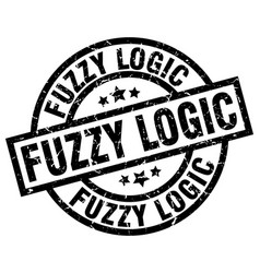 Fuzzy logic round grunge black stamp vector