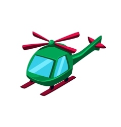 Green helicopter toy aircraft icon vector