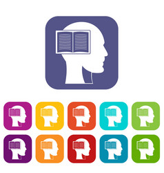 Head with open book icons set flat vector