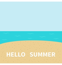 Hello summer beach sea ocean sky sand cute cartoon vector