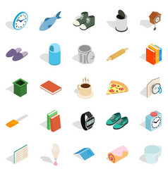 Interior icons set isometric style vector