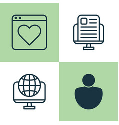 Internet icons set collection of followed global vector