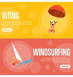 Kiting and windsurfing horizontal banners vector