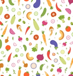 Mixed vegetables seamless pattern vector image