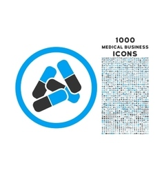 Pills Rounded Icon with 1000 Bonus Icons vector image