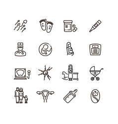 Pregnancy and newborn child line icons vector