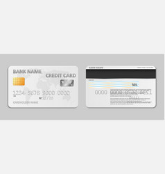 realistic white bank credit card template isolated vector image