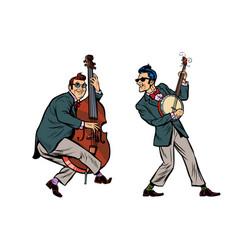 Rockabilly jazz musicians double bass and banjo vector