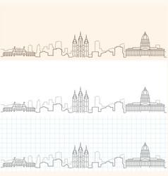 Salt lake city hand drawn skyline vector