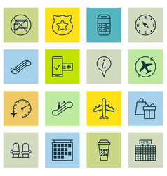 Set of 16 airport icons includes forbidden mobile vector