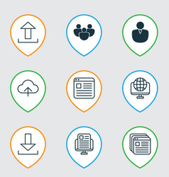 set of 9 online connection icons includes website vector image vector image