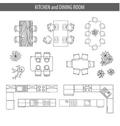 set of linear icons for interior top view plans vector image