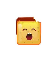 Smiling emoticon face yawn icon vector