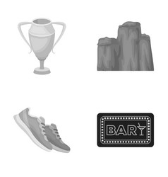 Sport cinema and other monochrome icon in cartoon vector