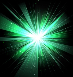 Star with rays white green in space isolated and vector image vector image
