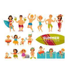summer vacation set of cartoon characters in vector image vector image