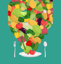 Vegetables on plate vegetable dish vegetarian food vector